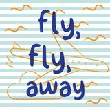 Fly fly away with airplane and stripe background. Playful, cute, and flexible doodle pattern for brand who has fun style. Doodle art suits for kids and Royalty Free Stock Image