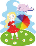 Fly away, the cloud. A girl in a red dress with a  rainbow umbrella stands on the floral lawn in the sky and clouds with rain drops Royalty Free Stock Photo