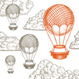 Fly Ballon in Clouds Hand Draw Sketch. Vector. Fly Ballon in Clouds Hand Draw Sketch. Different Size. Transport Vintage Style Design. Vector illustration Stock Image