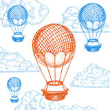 Fly Ballon on Sky Hand Draw Sketch. Vector. Fly Ballon on Sky Hand Draw Sketch. Transport Vintage Style Design. Vector illustration Royalty Free Stock Photos