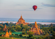 fly a balloon December 4, 2013 in Bagan. Stock Photos