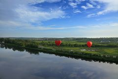 Fly on the hot air balloons Stock Photos