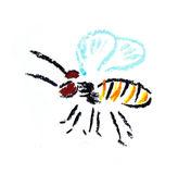 Fly bee simple illustration Stock Photos