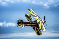 Fly on the biplane. Royalty Free Stock Photo
