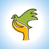 Fly of bird to hand. creative idea Royalty Free Stock Photo