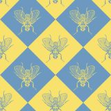 Fly blue and yellow vector seamless pattern royalty free illustration