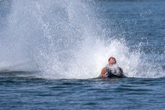 Fly board extreme sports adventure , summer beach sports royalty free stock photos