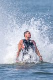 Fly board extreme sports adventure , summer beach sports stock image