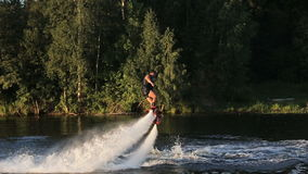 Fly board rider. stock video footage