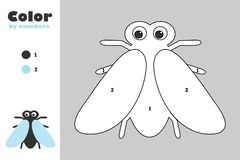 Fly in cartoon style, color by number, education paper game for the development of children, coloring page, kids preschool. Activity, printable worksheet stock illustration