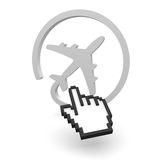 Fly check. Airplane with a pointer as 3D image Stock Photography