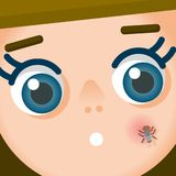 Fly on cheek. Vector illustration with a woman with a fly on a cheek stock illustration