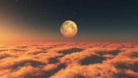 fly in clouds sunset moon