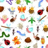 Fly and creeping cute cartoon insects  pattern for happy kids Royalty Free Stock Photos