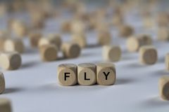 Fly - cube with letters, sign with wooden cubes. Series of images: cube with letters, sign with wooden cubes Stock Image