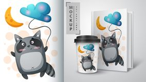 Fly dreams raccoon - mockup for you idea. Vector eps 10 royalty free illustration