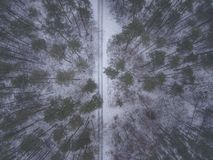 Fly with the drone over winter tales with snow stock photos