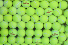 Fly Emirates Wilson tennis balls at Billie Jean King National Tennis Center Stock Photography