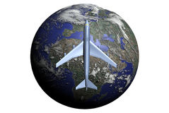 Fly through entire World. A 747 plane at the foreground of the Earth Stock Images