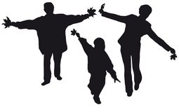 Fly family silhouette. Fly family in autumn park vector silhouette stock illustration