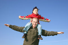 Fly father with son Stock Photography