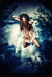 Fly fear. Bloodthirsty vampire flying at the night cemetery in the mist and moonlight Royalty Free Stock Image