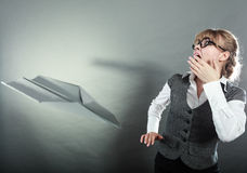 Fly fear. Woman and airplane fall down Royalty Free Stock Image