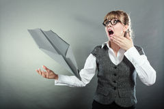 Fly fear. Woman and airplane fall down Stock Photo