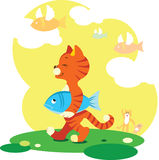 Fly Fish. Tabby cat walk with the caught fish Stock Photo