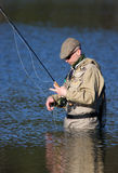 Fly-fisher. In action on the Swedish westcoast stock photography