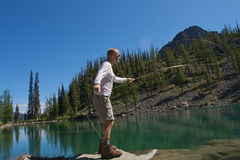 Fly Fisherman. Fly fishing in the North Cascade Mountains Royalty Free Stock Images