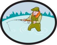 Fly Fisherman Casting Fly Rod Oval Cartoon Royalty Free Stock Photos