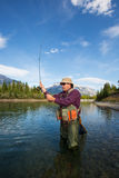 Fly Fisherman. Fisherman casting a fly in a mountain river Royalty Free Stock Photo