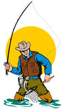 Fly Fisherman catching a leapi. Vector art of a Fly Fisherman catching a leaping trout Stock Photography