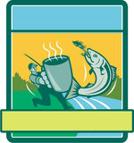 Fly Fisherman Catching Salmon Mug Rectangle Retro. Illustration of a fly fisherman fishing holding mug catching salmon viewed from the side set inside rectangle Stock Image