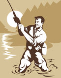 Fly fisherman catching trout. Vector illustration of a Fly fisherman catching trout vector illustration