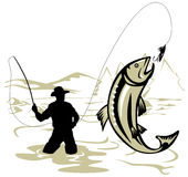 Fly Fisherman catching a trout stock illustration