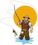 Fly Fisherman catching a trout. Vector art of a Fly Fisherman catching a leaping trout Royalty Free Stock Image
