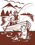 Fly fisherman catching trout boat. Illustration of a Fly fisherman catching trout on boat done in woodcut style Stock Image