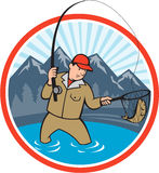 Fly Fisherman Catching Trout Fish Cartoon Stock Image