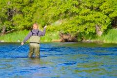 Fly Fisherman Deschutes River. An experienced fly fisherman wades in the water while fly fishing the Deschutes River in Oregon stock photos