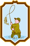 Fly Fisherman Fish On Reel Shield Cartoon Royalty Free Stock Images