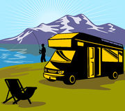 Fly fisherman fishing caravan Stock Images