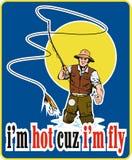 Fly fisherman fishing reel lure Royalty Free Stock Photo