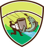 Fly Fisherman Mug Salmon Crest Retro. Illustration of a fly fisherman fishing holding mug hooking salmon jumping viewed from the side set inside shield crest Royalty Free Stock Photography