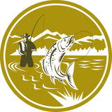Fly Fisherman Reeling Trout Circle Retro Royalty Free Stock Photography
