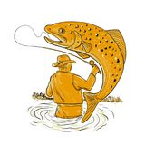 Fly Fisherman Reeling Trout Drawing Royalty Free Stock Photos