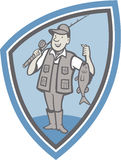 Fly Fisherman Showing Fish Catch Cartoon Stock Image