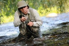 Fly-fishing imagens de stock royalty free