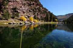 Fly fishing. Flyfishing rod and line on the Green River Stock Photo